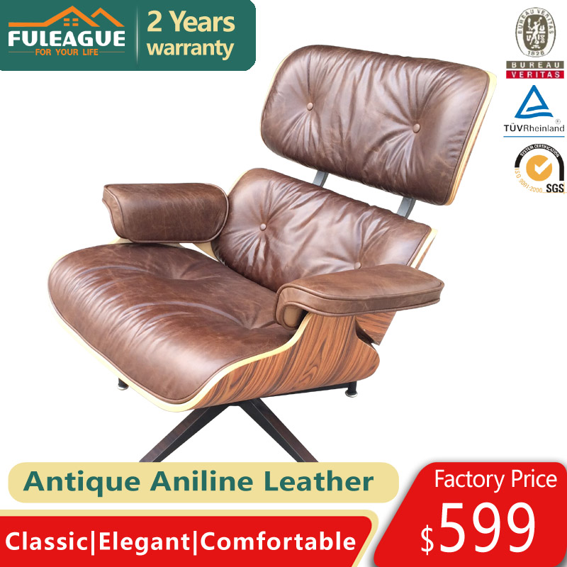Eames Lounge Chair and ottoman Replica FA021-AAL in Premium Antique Aniline Leather