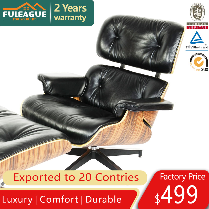 Premium Aniline Leather Eames Lounge Chair and ottoman Replica FA021-ANL