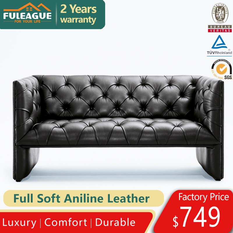 Edwards Loveseat 2 seater sofa in Premium Aniline leather FA172-2S-ANL
