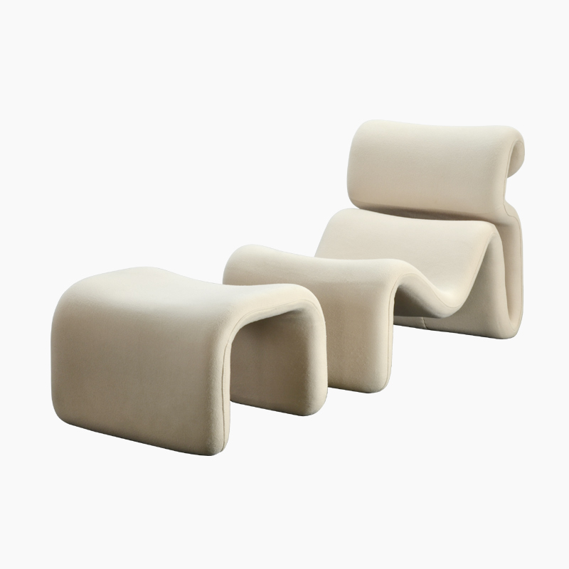 Jan Ekselius Etcetera Lounge Chair and Ottoman Replica in Fabric FA345-Lounge-F
