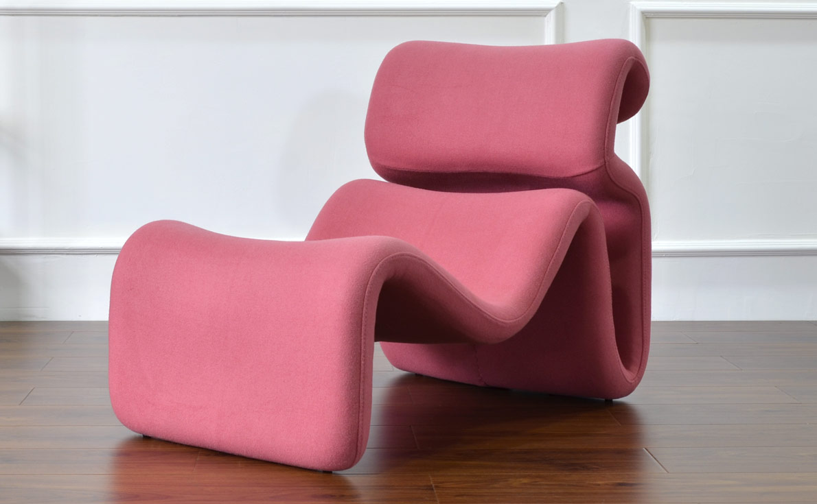 etcetera lounge chair replica in pink fabric