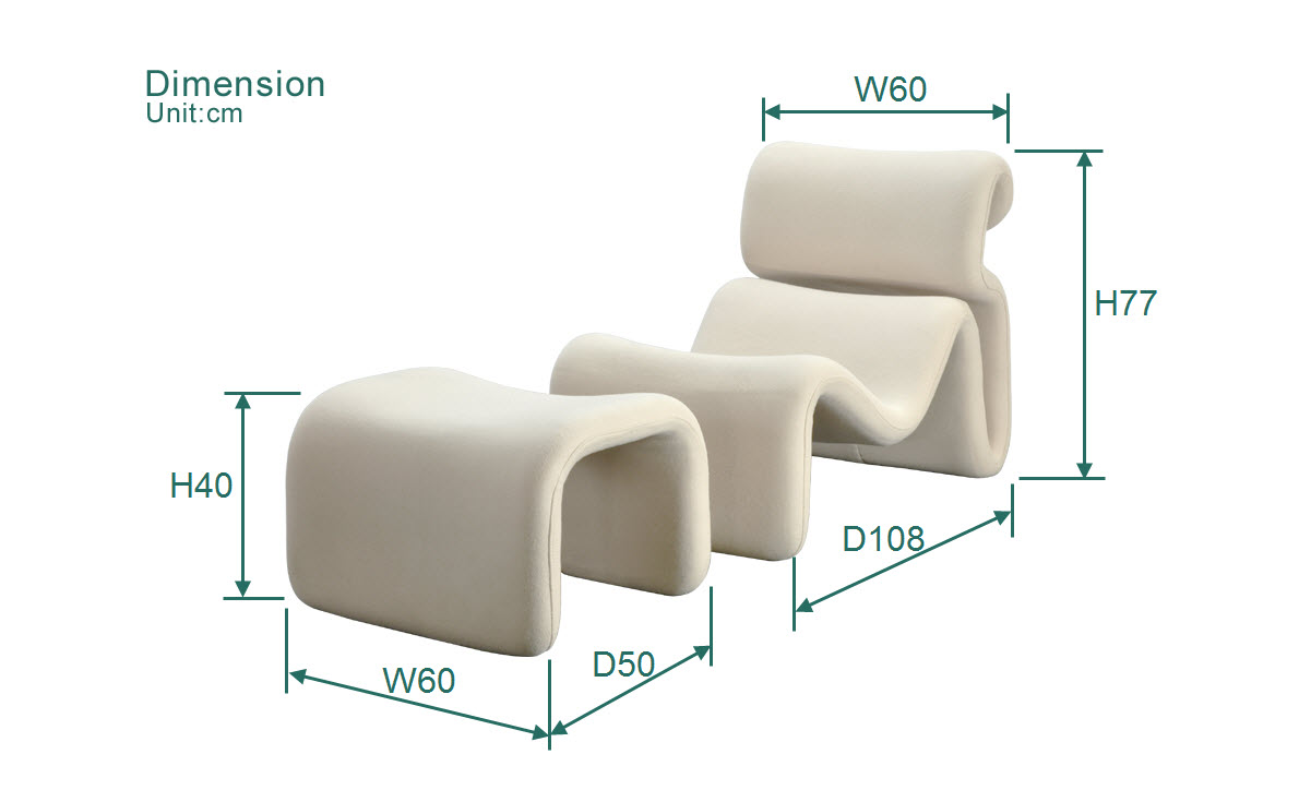 the dimension of Etcetera Lounge Chair and Ottoman Replica