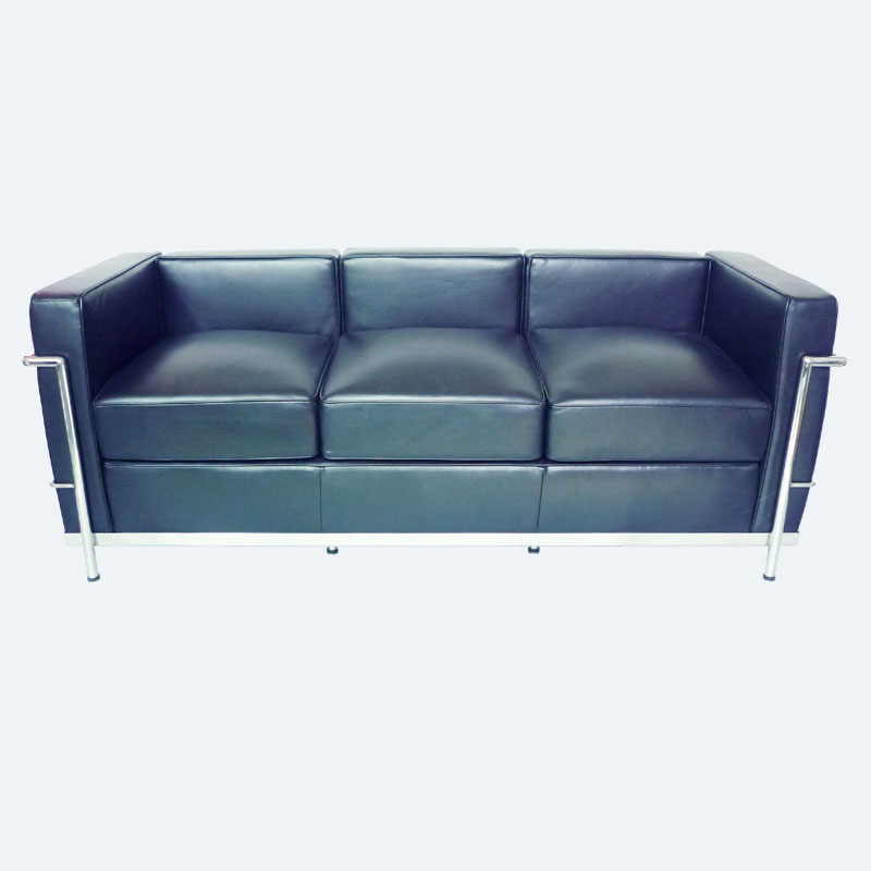 LC2 Sofa replica by Le Corbusier in black leather