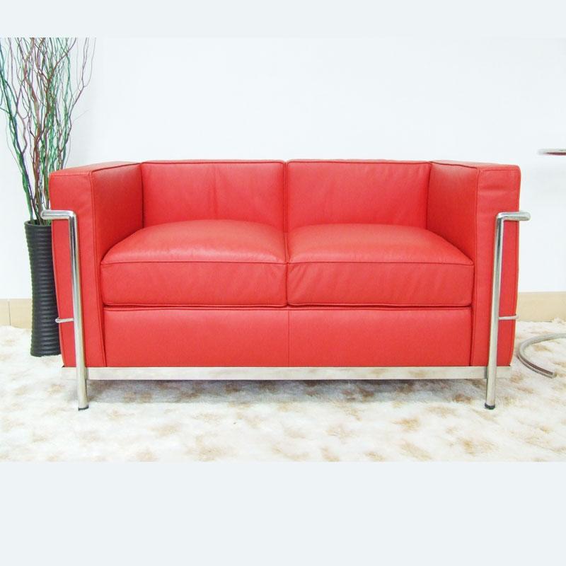 Le Corbusier LC2 Loveseat replica in Italian Leather FA020-2S-ITL