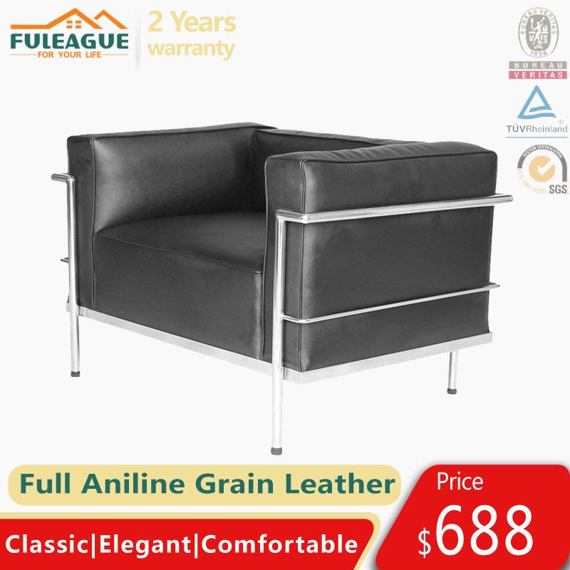 Le Corbusier LC3 Armchair Replica in Full Aniline Grain Leather FA336-1S-ANL