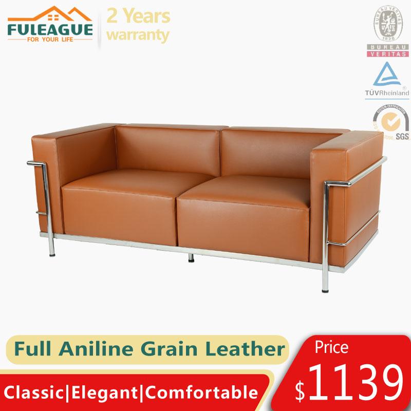 Le Corbusier LC3 Sofa Replica in Full Aniline Grain Leather FA336-ANL