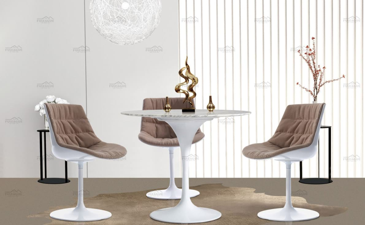 title='Paded Tulip dining table and Chair'