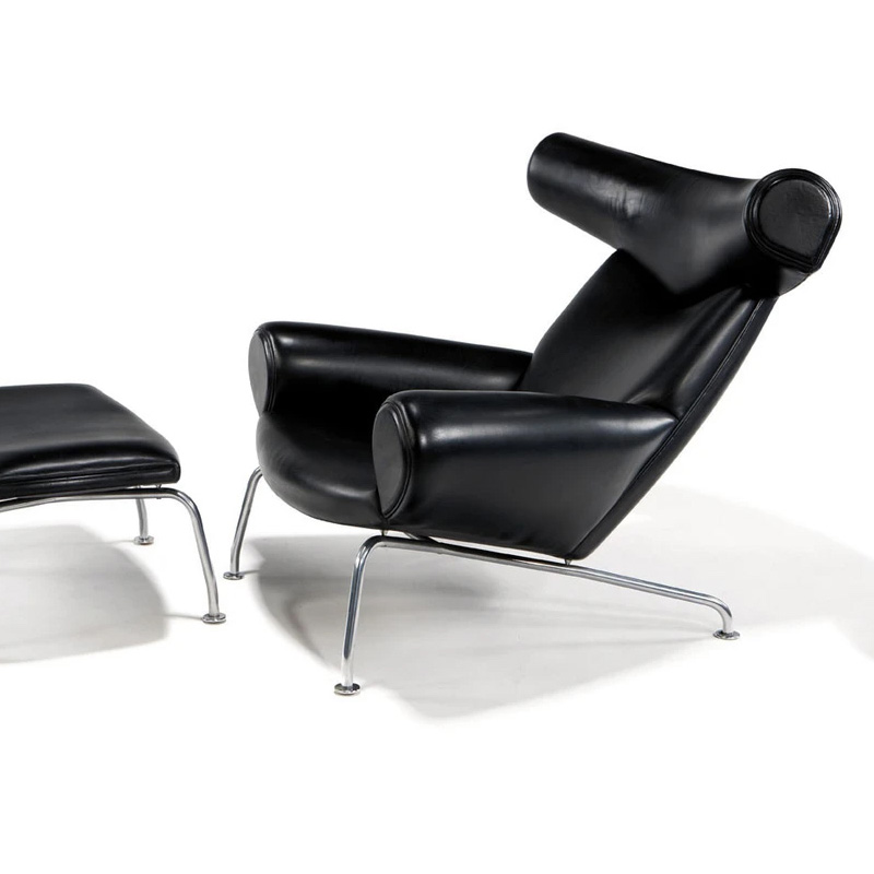Ox chair and ottoman replica FA048-ITL in Genuine Top Grain Leather Upholstery