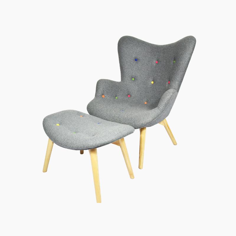 R160 Contour Chair and Ottoman Cashmere FA072-CM