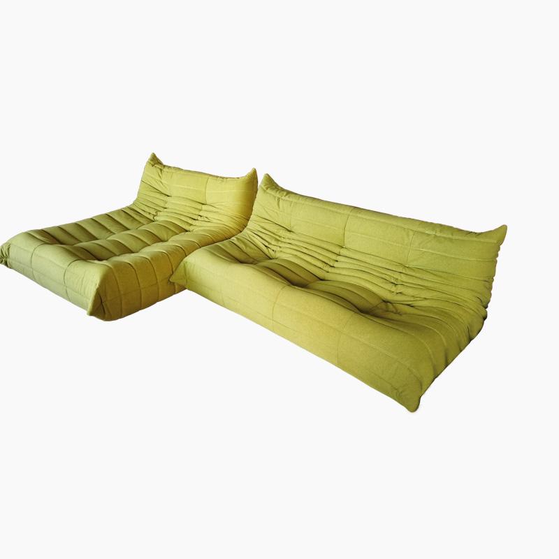 Togo Sofa Replica in Velvet and Microfiber Fabric by 3-Seat Sofa and Togo Lounge FA233-3S&L-F