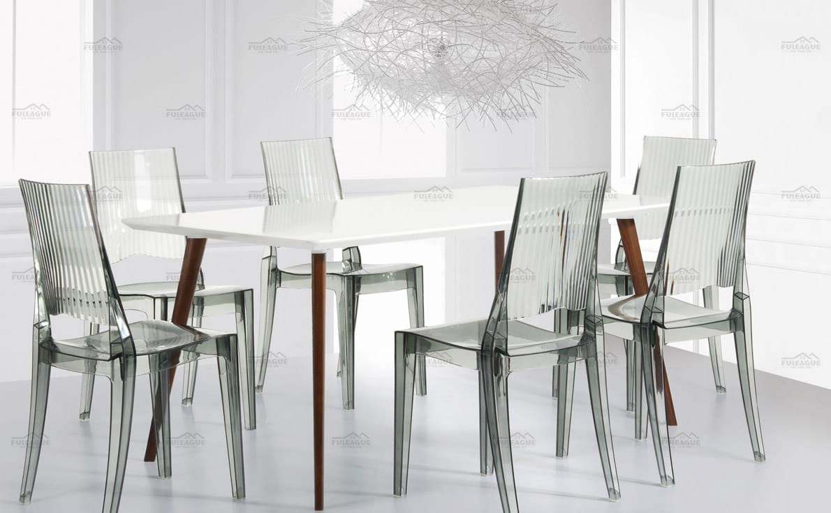 title='Transparent dining chair FXP057 Match with square table'