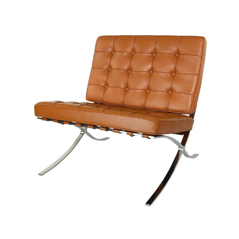 barcelona chair replica in cognac full aniline grain leather