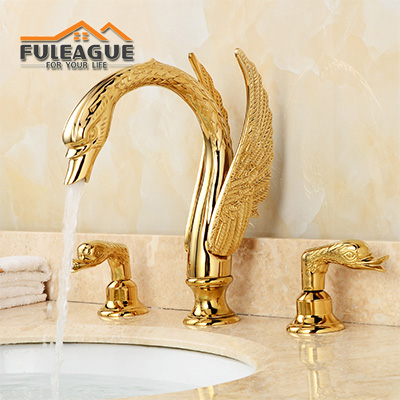 European Royal Luxury Bright Copper Swan Faucet FKB008