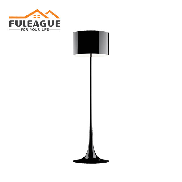 spun floor lamp lacquered with black color