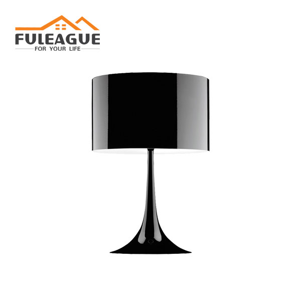 spun table lamp lacquered with black color