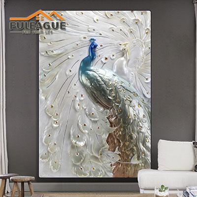Standing Peacock Stereograph Frameless FPP032